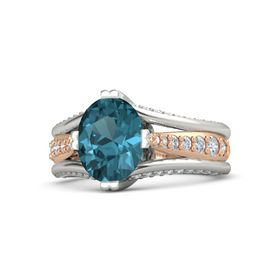 Oval London Blue Topaz 14K White Gold Ring with Diamond