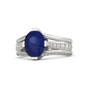 Oval Blue Sapphire 14K White Gold Ring with White Sapphire