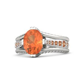 Oval Fire Opal 14K White Gold Ring with Fire Opal & White Sapphire