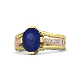 Oval Blue Sapphire 14K Yellow Gold Ring with Diamond