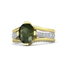 Oval Green Tourmaline 14K Yellow Gold Ring with Diamond