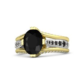 Oval Black Onyx 14K Yellow Gold Ring with Black Diamond and White Sapphire