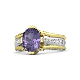 Oval Iolite 14K Yellow Gold Ring with White Sapphire