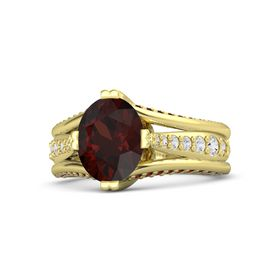 Oval Red Garnet 14K Yellow Gold Ring with White Sapphire and Red Garnet