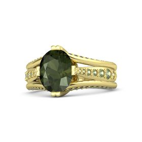 Oval Green Tourmaline 14K Yellow Gold Ring with Peridot and Green Tourmaline
