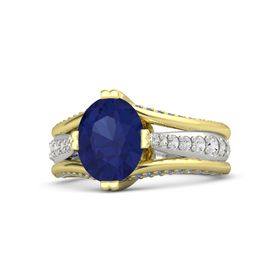 Oval Blue Sapphire 14K Yellow Gold Ring with White Sapphire and Blue Sapphire