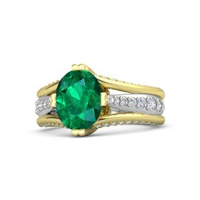 Oval Emerald 14K Yellow Gold Ring with Diamond