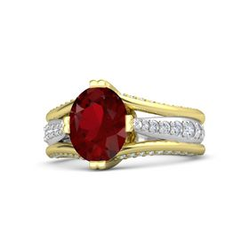 Oval Ruby 14K Yellow Gold Ring with Diamond