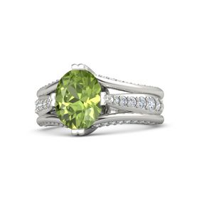 Oval Peridot 18K White Gold Ring with Diamond