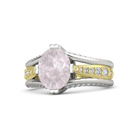 Oval Rose Quartz 18K White Gold Ring with Diamond