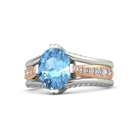 Oval Blue Topaz Palladium Ring with Diamond