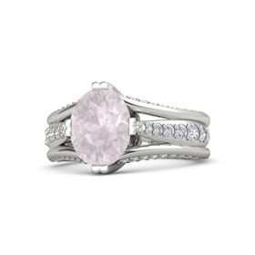 Oval Rose Quartz Palladium Ring with Diamond