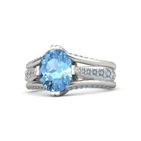 Oval Blue Topaz Palladium Ring with Blue Topaz and London Blue Topaz