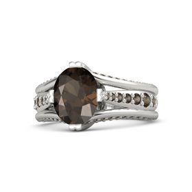 Oval Smoky Quartz Palladium Ring with Smoky Quartz