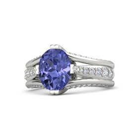 Oval Tanzanite Palladium Ring with Diamond