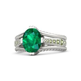 Oval Emerald Platinum Ring with Peridot and White Sapphire