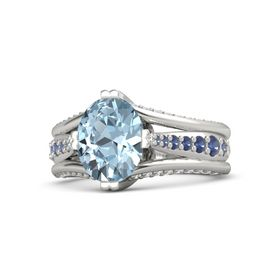 Oval Aquamarine Platinum Ring with Blue Sapphire and White Sapphire