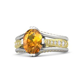 Oval Citrine Platinum Ring with White Sapphire and Citrine