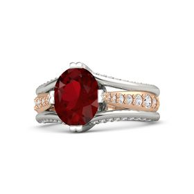 Oval Ruby Platinum Ring with White Sapphire