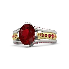 Oval Ruby Platinum Ring with Ruby