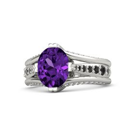 Oval Amethyst Platinum Ring with Black Diamond & White Sapphire
