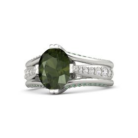 Oval Green Tourmaline Platinum Ring with White Sapphire and Emerald