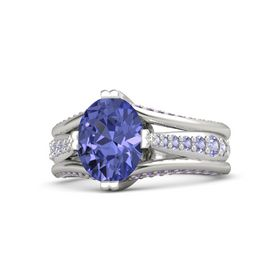 Oval Tanzanite Platinum Ring with Tanzanite and Amethyst