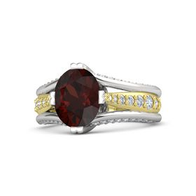 Oval Red Garnet Sterling Silver Ring with Diamond