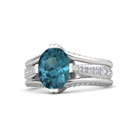 Oval London Blue Topaz Sterling Silver Ring with Diamond