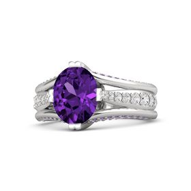 Oval Amethyst Sterling Silver Ring with White Sapphire and Amethyst