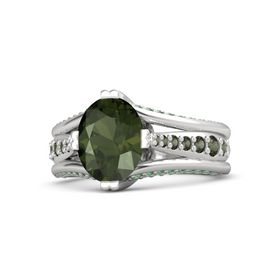 Oval Green Tourmaline Sterling Silver Ring with Green Tourmaline & Emerald