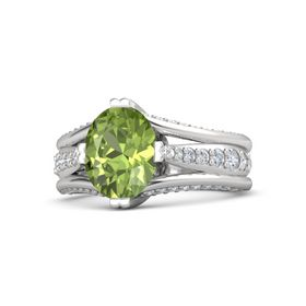 Oval Peridot Sterling Silver Ring with Diamond