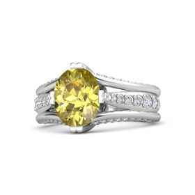 Oval Yellow Sapphire Sterling Silver Ring with Diamond