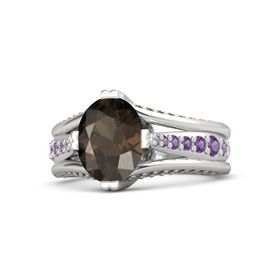 Oval Smoky Quartz Sterling Silver Ring with Amethyst and Smoky Quartz