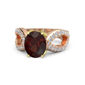 Oval Red Garnet 14K Rose Gold Ring with Diamond