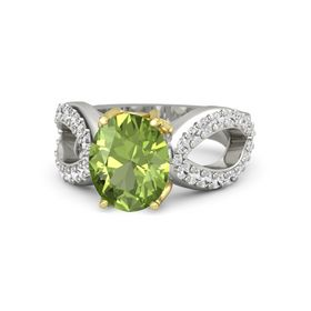 Oval Peridot 18K White Gold Ring with White Sapphire