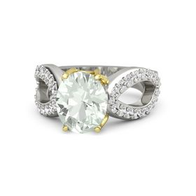 Oval Green Amethyst Palladium Ring with White Sapphire