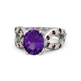 Oval Amethyst Palladium Ring with Red Garnet & White Sapphire