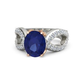 Oval Sapphire Platinum Ring with Diamond