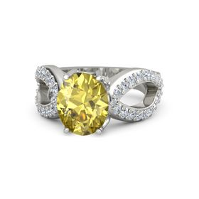 Oval Yellow Sapphire Platinum Ring with Diamond