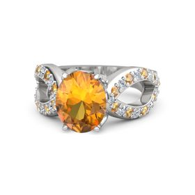 Oval Citrine Sterling Silver Ring with Citrine & Diamond