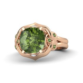 Cushion Green Tourmaline 14K Rose Gold Ring with White Sapphire and Green Tourmaline