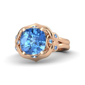 Cushion Blue Topaz 14K Rose Gold Ring with Blue Topaz