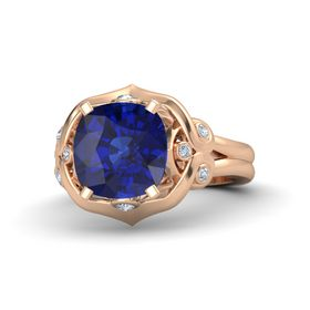 Cushion Blue Sapphire 14K Rose Gold Ring with Diamond