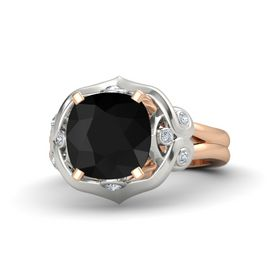 Cushion Black Onyx 14K Rose Gold Ring with Diamond