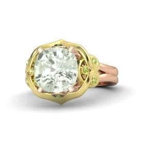 Cushion Green Amethyst 14K Rose Gold Ring with Green Tourmaline and Peridot