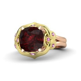 Cushion Red Garnet 14K Rose Gold Ring with Pink Sapphire