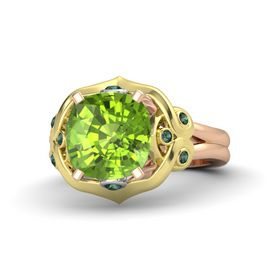 Cushion Peridot 14K Rose Gold Ring with Alexandrite