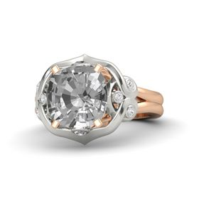 Cushion Rock Crystal 14K Rose Gold Ring with Rock Crystal and White Sapphire