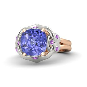 Cushion Tanzanite 14K Rose Gold Ring with Amethyst